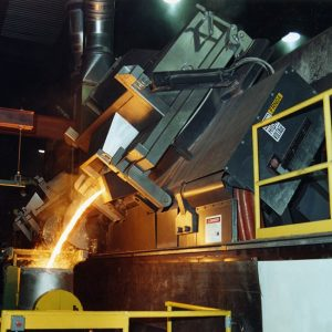 furnace pouring molten metal